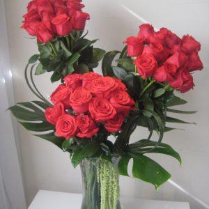 Cilindro 36 rosas rojas