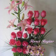 Escalonado 18 rosas fiusha